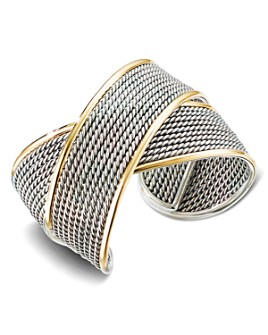 David Yurman - Sterling Silver & 18K Yellow Gold Origami Large Crossover Cuff Bracelet