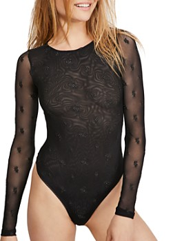 Free People - Make Out Embroidered Mesh Bodysuit