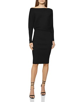 REISS - Lara Ribbed Off-the-Shoulder Bodycon Dress