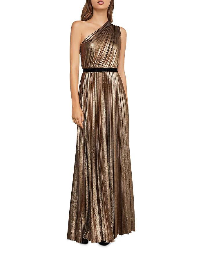 BCBGMAXAZRIA - Metallic Pleated One-Shoulder Gown