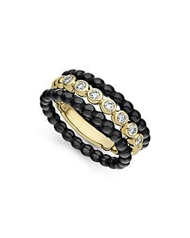 LAGOS - 18K Yellow Gold Caviar Gold Diamond Three-Ring Stacking Set