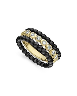 LAGOS - 18K Yellow Gold Caviar Gold Diamond Three-Ring Stacking Set