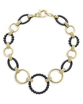 LAGOS - 18K Yellow Gold Gold & Black Caviar Black Ceramic Circle Link Bracelet