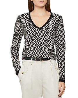 REISS - Mali Zigzag V-Neck Sweater