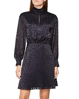 REISS - Matilda Leopard Velvet Burnout Dress