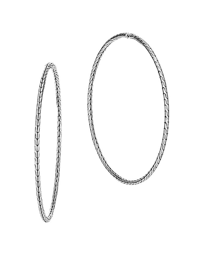 JOHN HARDY - Sterling Silver Classic Chain Extra-Large Hoop Earrings