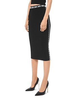 MICHAEL Michael Kors - Ribbed Logo-Trim Pencil Skirt