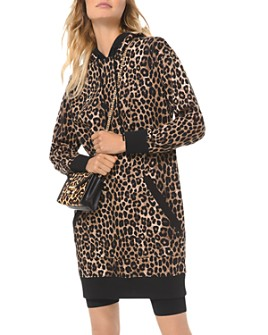 MICHAEL Michael Kors - Leopard-Print Cotton-Terry Hoodie Dress