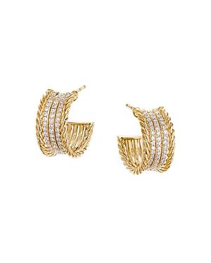 David Yurman 18K Yellow Gold Origami Cable Huggie Hoop Earrings with Pave Diamonds