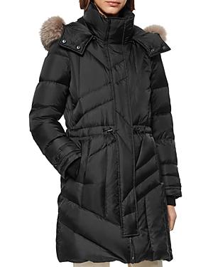 Andrew Marc Cresskill Fur-Trim Puffer Coat In Black
