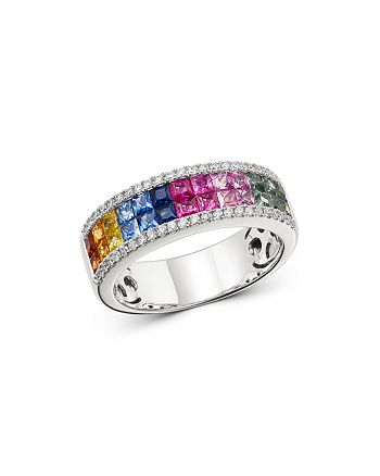 Bloomingdale's - Rainbow Sapphire & Diamond Mosaic Band in 14K White Gold - 100% Exclusive