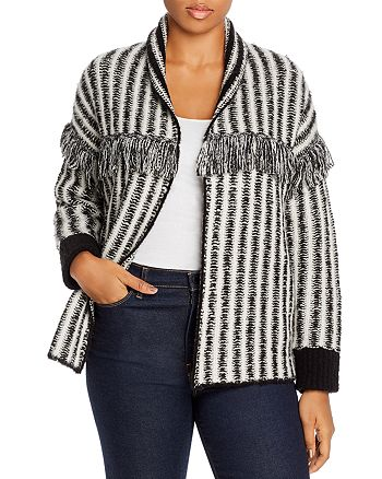 AQUA Curve - Striped Fringe-Trim Cardigan