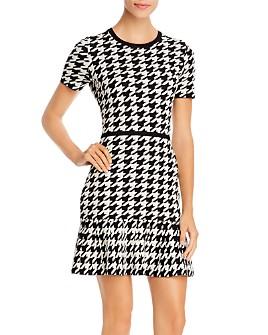 PAULE KA - Ruffled Houndstooth Mini Dress
