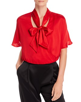 Alice and Olivia - Livvy Tie-Neck Crossover Top