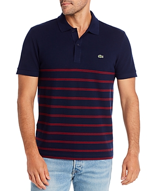 Lacoste Stripe-Accented Regular Fit Polo Shirt - 100% Exclusive