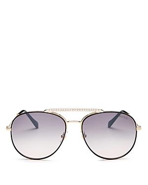 Miu Miu Women\\\'s Crystal Brow Bar Aviator Sunglasses, 57mm-Jewelry & Accessories