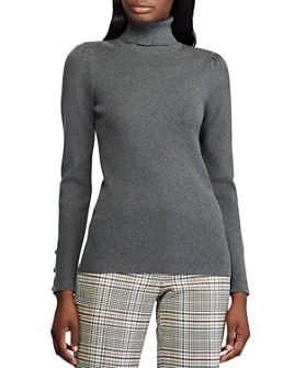 Ralph Lauren - Puff-Shoulder Ribbed Turtleneck Sweater