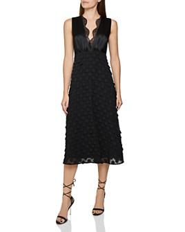 REISS - Leni Jacquard Dot Midi Dress