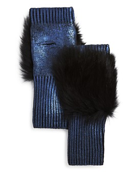Jocelyn - Fox Fur-Trim Metallic Fingerless Gloves
