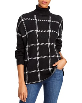 AQUA - Windowpane Turtleneck Sweater - 100% Exclusive