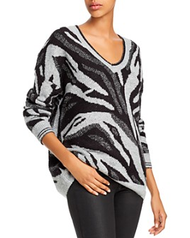 AQUA - Metallic Zebra Jacquard Sweater - 100% Exclusive