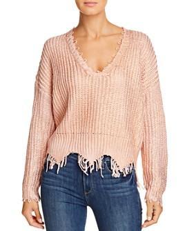 Elan - Frayed-Edge V-Neck Sweater