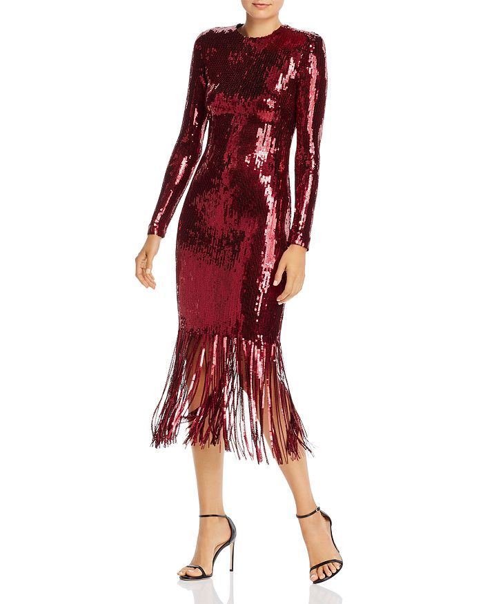 Rebecca Vallance MATISSE SEQUIN FRINGED MIDI DRESS