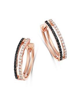 OWN YOUR STORY - 14K Rose Gold Linear Black & White Diamond Small Hoop Earrings
