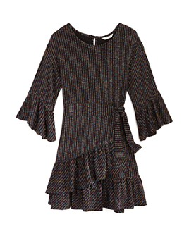 Habitual Kids - Girls' Ruffled Rainbow-Stripe Dress - Little Kid