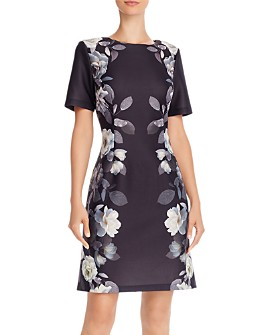 Adrianna Papell - Shadow Roses Shift Dress