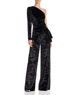 Black Halo - Karmina Velvet One-Shoulder Jumpsuit