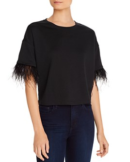 Lucy Paris - Faux-Feather Trim Tee
