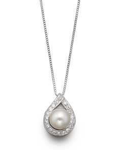 Pearl necklace bloomingdales cultured akoya pearl pendant necklace with diamonds 175 bloomingdales0 aloadofball Images
