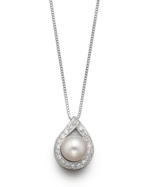 Cultured Akoya Pearl Pendant Necklace with Diamonds, 17.5