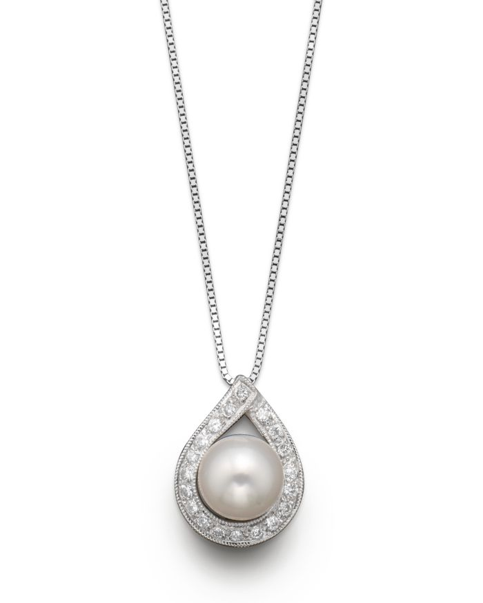 """Bloomingdale's Cultured Akoya Pearl Pendant Necklace with Diamonds, 17.5""""  
