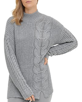 Calvin Klein - Mock-Neck Cable-Knit Sweater
