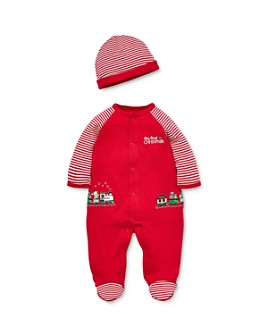 Little Me - Boys' Holiday Train Footie & Hat Set - Baby