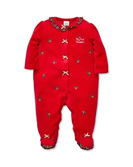 Little Me - Girls' Embroidered Holly Footie - Baby