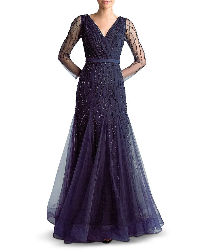 Basix - Embroidered Tulle Gown