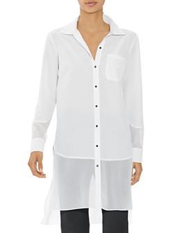 HALSTON - Long Sleeve Button Down Georgette Shirt