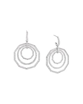 David Yurman - 18K White Gold Stax Full Pavé Diamond Drop Earrings
