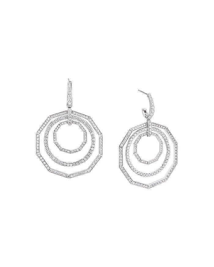 David Yurman - 18K White Gold Stax Full Pavé Diamond Drop Earrings