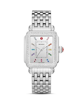 MICHELE - Deco Stainless Steel Rainbow Diamond Watch, 33mm x 35mm