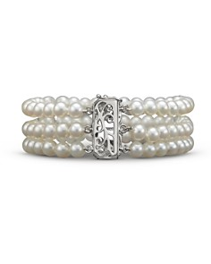 Bloomingdale's - Cultured Freshwater Pearl Bracelet with Diamond Accents in 14K White Gold, 5.5mm - 100% Exclusive