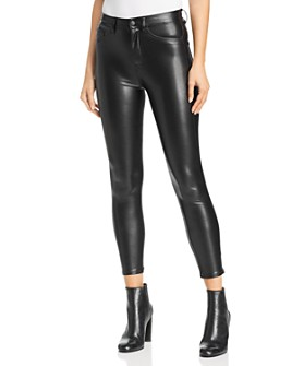 The Kooples - Faux-Leather Mid-Rise Skinny Jeans in Black