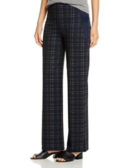 Lyssé - Ellis Faux-Suede-Trim Plaid Pants