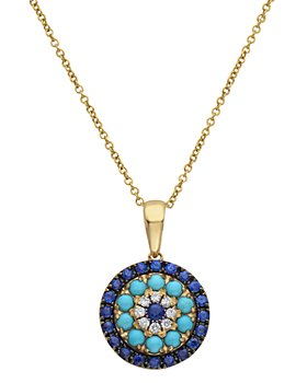 """Bloomingdale's - Diamond, Blue Sapphire & Turquoise Pendant Necklace in 14K Yellow Gold, 18"""" - 100% Exclusive"""