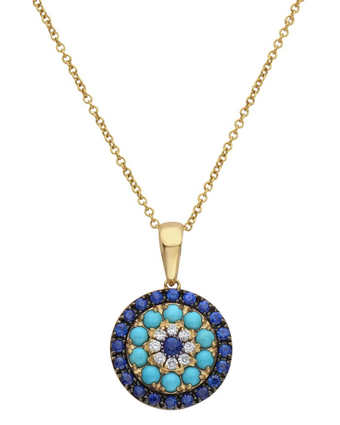 """Bloomingdale's Diamond, Blue Sapphire & Turquoise Pendant Necklace in 14K Yellow Gold, 18"""" - 100% Exclusive  