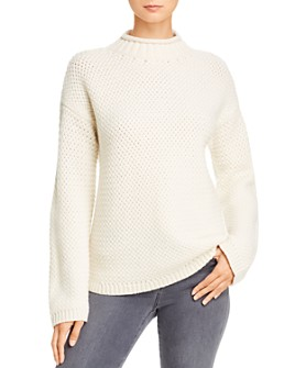 Theory - Cashmere & Merino Wool Basket Weave Funnel Neck Sweater
