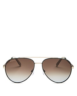 Salvatore Ferragamo - Men's Classic Brow Bar Aviator Sunglasses, 59mm